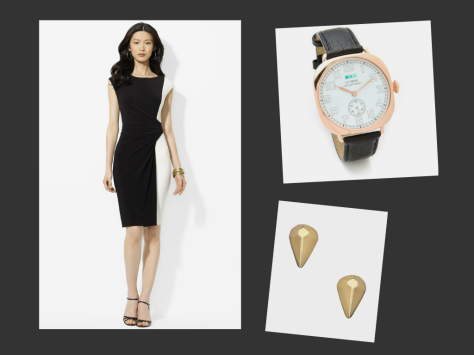 "Items from ShopStyle's ""Strictly Business"" curated shop. From left: Dress, Lauren Ralph Lauren; Watch, LaMer Collections; Earrings, Max&Chloe."