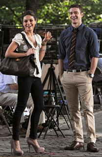 "Mila Kunis carries the Brooke FWB Bag in ""Friends with Benefits."""