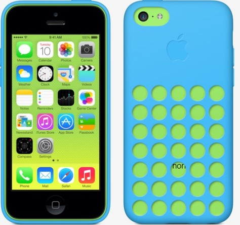 iPhone 5c in green, with a blue case. (Image via Apple)