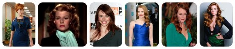 "From left: Christina Hendricks (as Joan Harris in ""Mad Men."" photo: AMC); Emma Stone (who is actually a blonde, but is also beautiful as a redhead); the late Rita Hayworth; ""Under the Dome"" actress Rachelle Lefevre; Bryce Dallas Howard; Jessica Chastain (photo: hawtcelebs.com); Julianne Moore, who will appear in ""The Hunger Games"" sequels; and Evan Rachel Wood.  All images except noted: Wikimedia Commons."