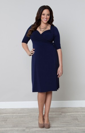 Kiyonna sweatheart wrap dress, $98 (Source: Kiyonna.com)
