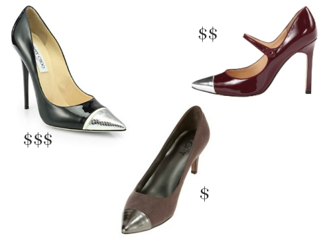 "$: LOFT heel, $75, at LOFT stores. $$: Ivanka ""Carni"" heel, $98, at Zappos. $$$: Jimmy Choo ""Kahlua"" heel, $695, at Saks Fifth Avenue."