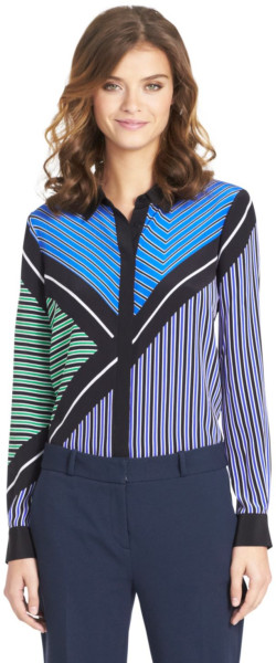 Diane von Fürstenburg Graphic Silk Blouse