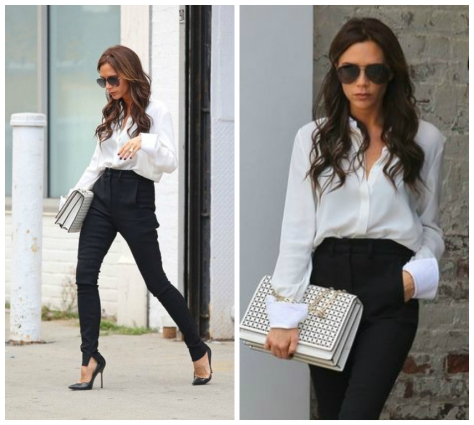 Victoria Beckham in white shirt and high-waisted pants